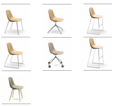 Colección de sillas con carcasa bicolor