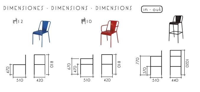 Medidas sillas sillones y taburetes de la serie mobiliario de hostelería vintage