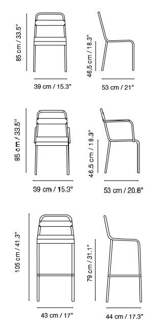 Medidas silla sillón y taburete lamas de diseño retro
