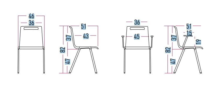 Medidas silla MIT de ACTIU. Mobiliario de oficina
