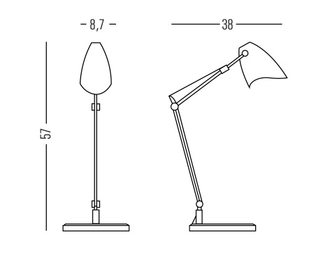 Dimensiones lampara de escritorio moderna