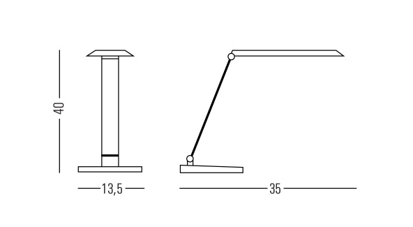 Medidas lámara de oficina LED con sistema táctil de regulación