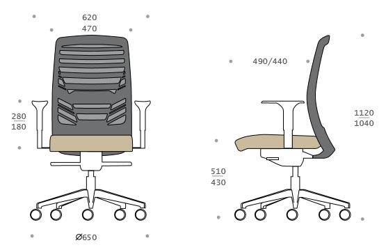 Medidas silla giratoria de oficina en malla de calidad