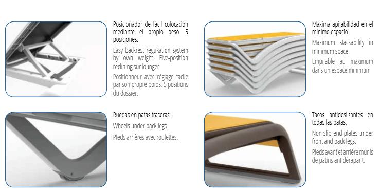 Características tumbona SKY de Resol