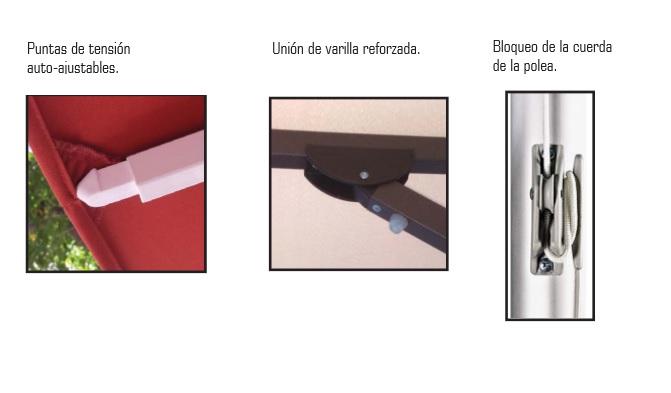 CAracetrísticas de las varillas del parasol de terraza para hostelería HD