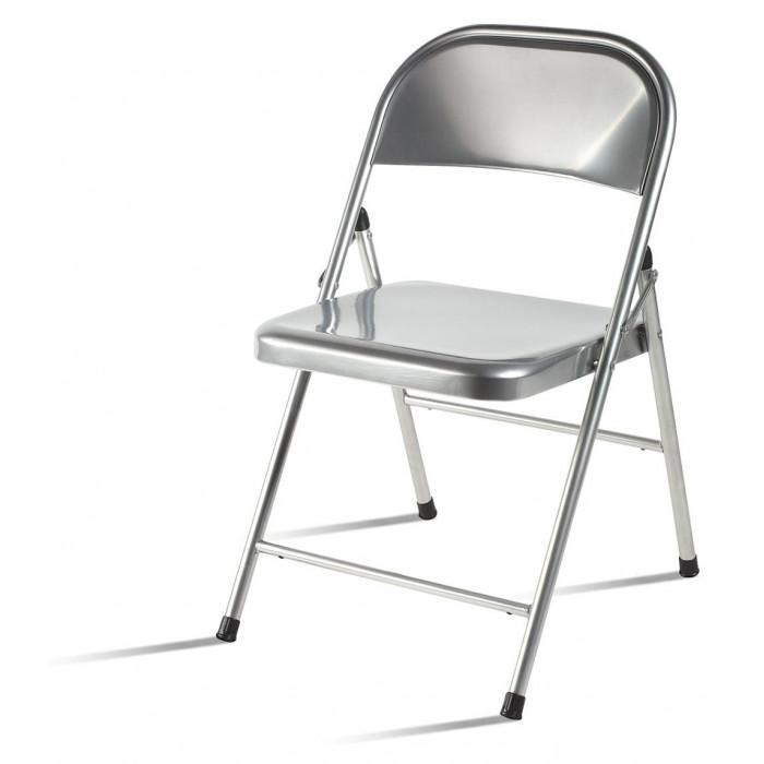 Folding metal chair. Metal sheet seat and back