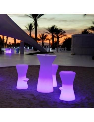 Taburete blanco con luz sta1146001 para terraza RGB