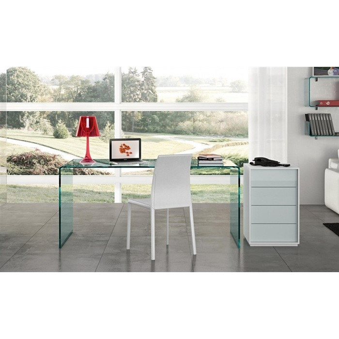 Mesa escritorio en cristal curvado muebles plm design for Mesa cristal oficina