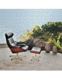 Poltrona relax giratòria Timeout sdi887001 de couro marrom