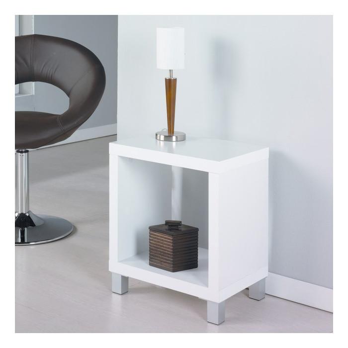 Mesa auxiliar moderna con caj n mesita de noche blanca - Mesita de salon ...