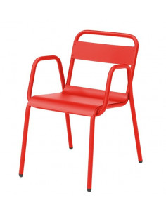 Sedia con braccioli, retrò zincato per esterno impilabile sho1145011