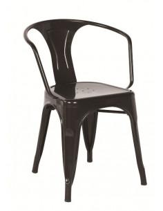Sedia in metallo vintage sho1040007 in bianco e nero
