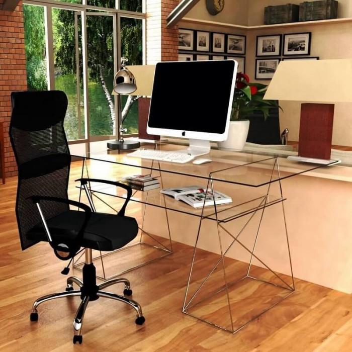 table tr teau avec 2 top en verre kme122001. Black Bedroom Furniture Sets. Home Design Ideas