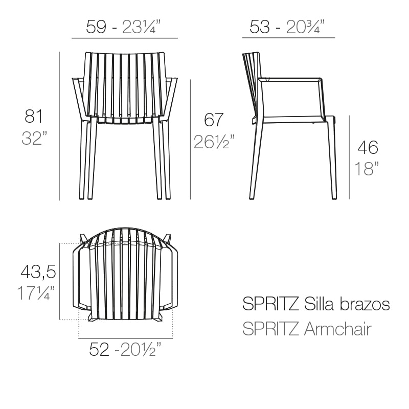 SPRITZ chair with armrest by VONDOM measurements | buy hotel furniture online