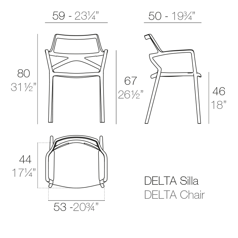 Measurements of VONDOM DELTA chair with armrests | Buy hospitality furniture online