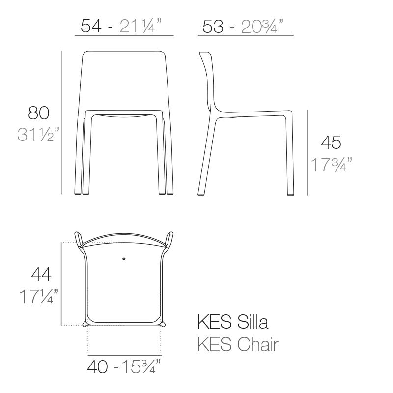 Mesures de la chaise KES de VONDOM | Acheter mobilier d'hôtellerie en ligne