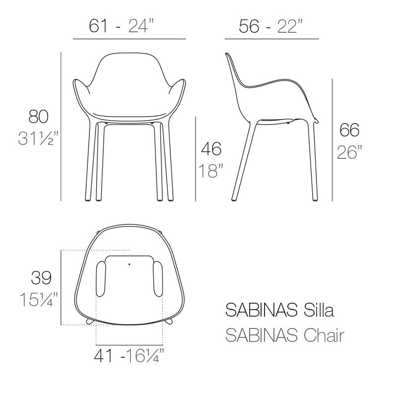 Mesures de la chaise SABINAS avec accoudoirs de VONDOM | Acheter meubles d'hôtellerie en ligne