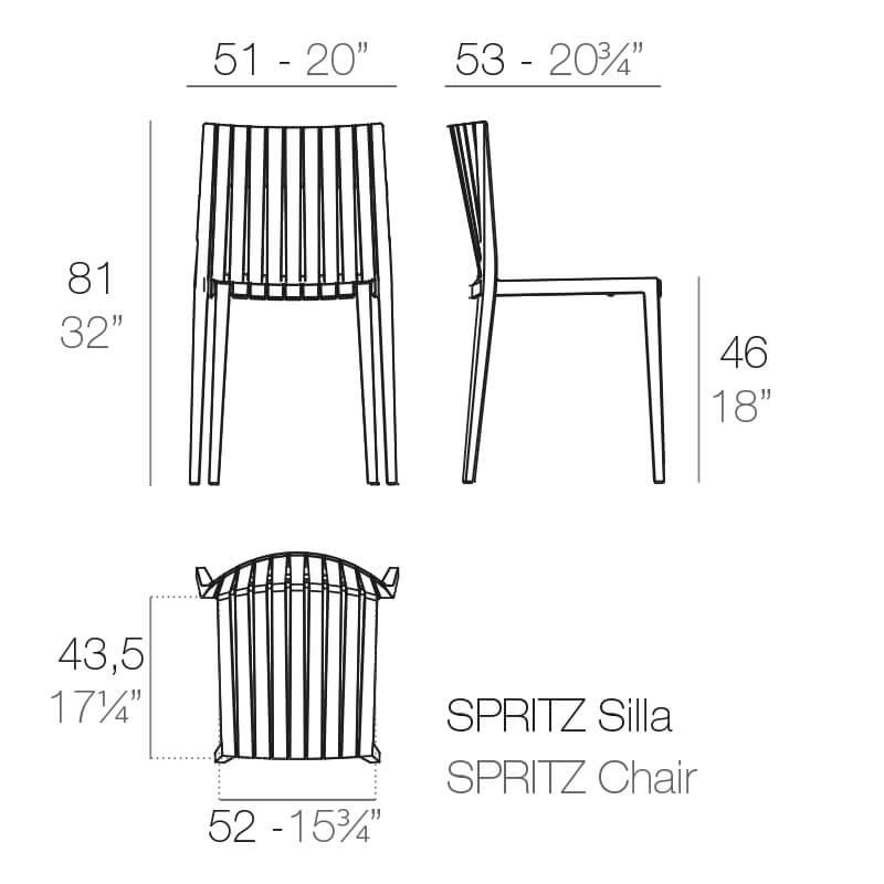 Mesures de la chaise SPRITZ de VONDOM | Acheter mobilier d'hôtellerie en ligne